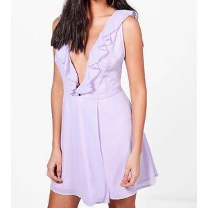 1 LEFT! NWT lilac ruffle wrap chiffon dress gown